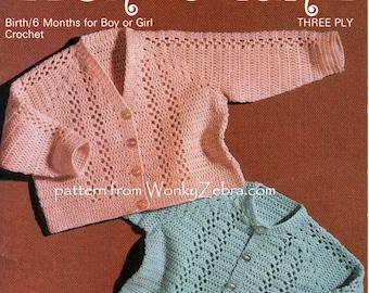 Vintage Crochet Baby Cardigan Jacket Pattern PDF BB118 from WonkyZebra