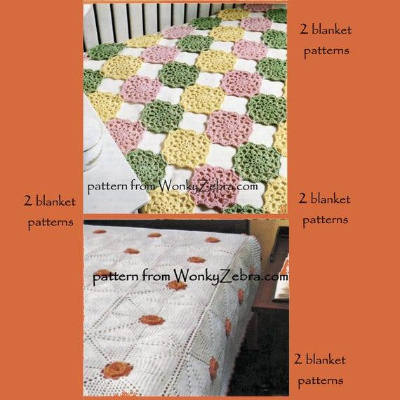 Häkelblume Oma Platz Jahrgang Bettdecke Decke Muster PDF B079 | Etsy