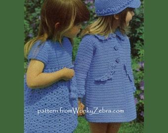 Vintage Crochet Coat Dress and Hat Patterns PDF 667 from WonkyZebra