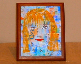 blue lady original collage framed 8 x 10 art