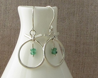 Modern Emerald Birthstone Earrings, May Birthstone Jewelry, Natural Emerald Silver Earrings, Emerald Green Earrings, E863