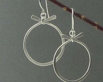 Hammered Silver Earrings Small, Modern Matte Silver Earrings, Sterling Silver Circle Dangle Earrings, Brushed Silver Earrings, Simple Silver