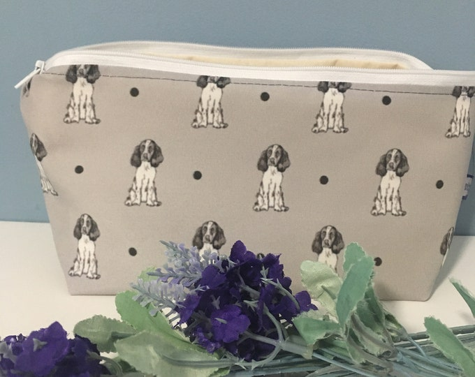 Springer spaniel, makeup bag, cosmetics bag, for spaniel lovers, springer spaniel gift