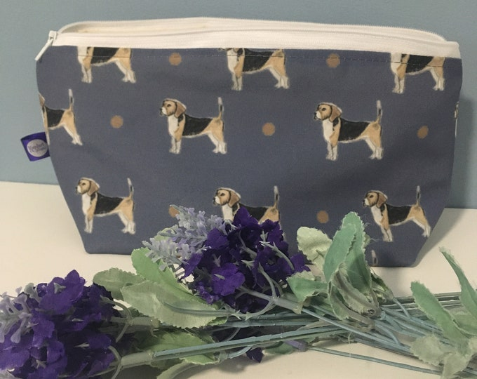 Beagle, makeup bag, cosmetics bag, for beagle lovers, beagle gift , blue makeup bag