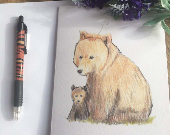 Bear, bear and cub card, Mother's Day card,greetings card, for bear lovers,bear gift