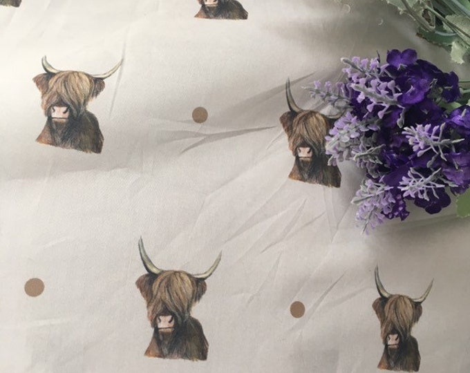Cow, highland cow, fabric, cotton fabric , for cow lovers, for highland cow lovers