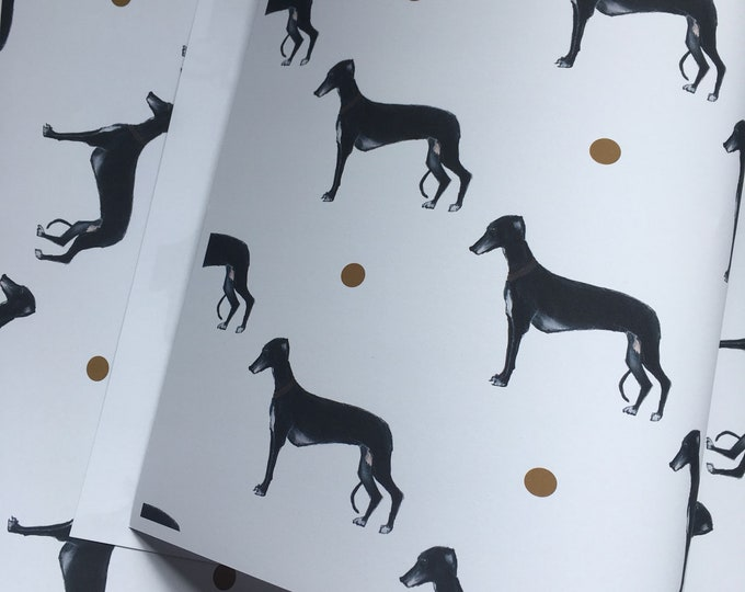 Greyhound, wrapping paper, gift wrap, for greyhound lovers, greyhound gift, read description