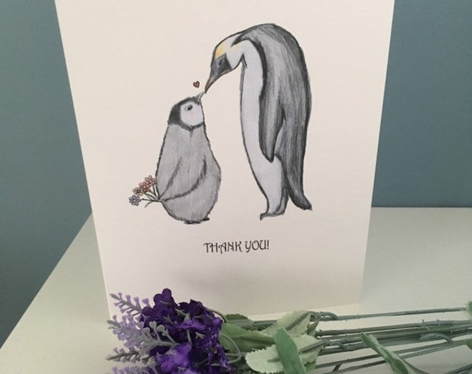Penguin thank you card, for penguin lovers , penguin gift, thank you gift