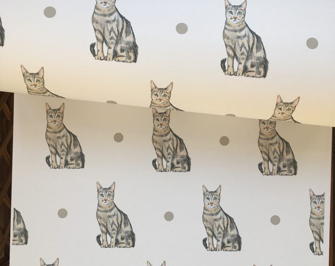 Cat, wrapping paper, gift wrap, for cat owners, for cat lovers, tabby cat, read description