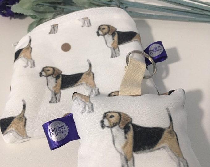Beagle purse, keyring, gift set, for beagle lovers, beagle gift, coin purse set