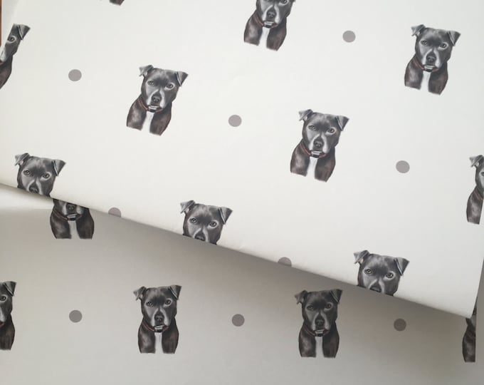 Staffie, wrapping paper, gift wrap, for staffie lovers, FOR SMALLER GIFTS, Staffordshire bull owners, read description