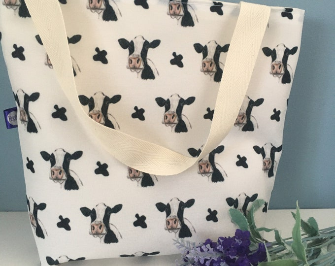 Cow,black and white cow, tote bag,day bag, handy bag, for cow lovers, cow gift