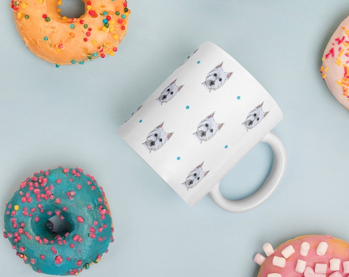 Westie mug, west highland terrier, for westie lovers, westie gift , mug and coaster set, westie gift idea