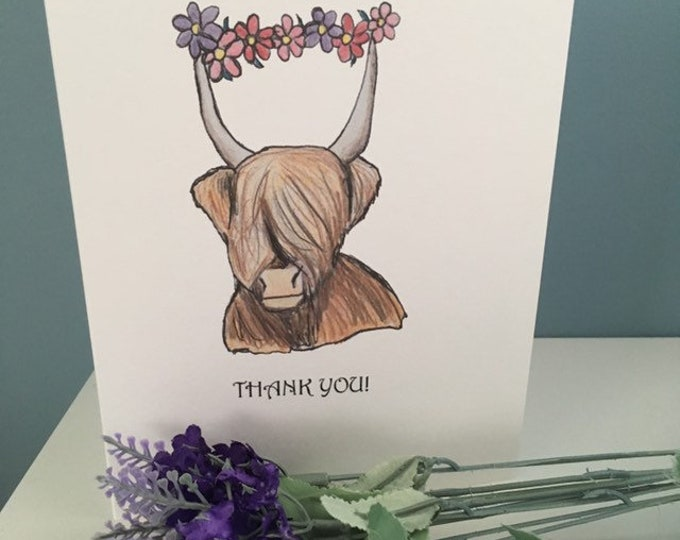 Highland cow thank you card, for cow lovers, highland cow gift, hairy cow gift