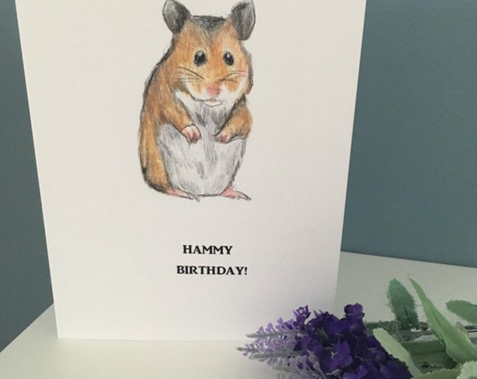 Hamster birthday card, hammy birthday card, for hamster lovers, hamster gift