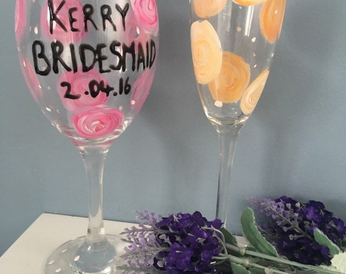 Bridesmaid glasses, wedding glasses, for bridesmaids, for wedding parties, wedding gifts, personalised, champagne glass, wine glass