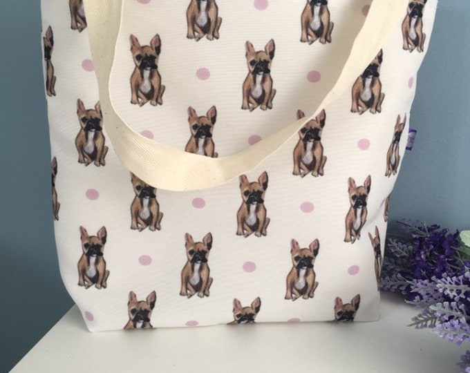 French bulldog, frenchie, tote bag, day bag, for french bulldog lovers, french bulldog gift