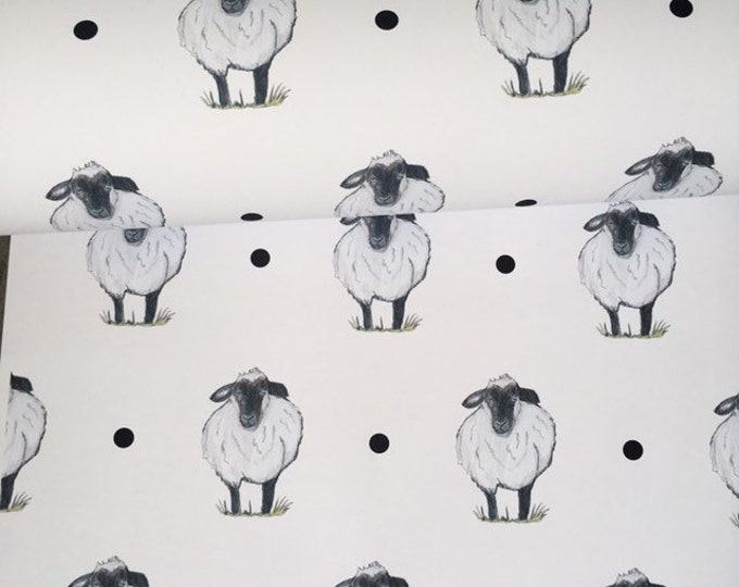 Sheep paper, sheep wrapping paper, for sheep lovers, sheep gift for smaller gifts
