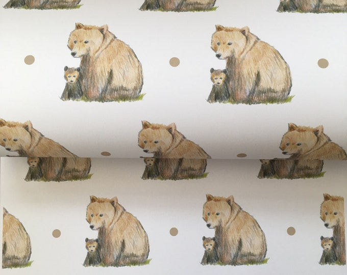 Bear, wrapping paper , gift wrap, for bear lovers, for Mother's Day, baby bear, mother bear, read description