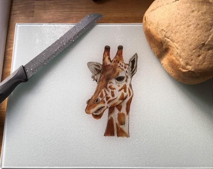 Giraffe chopping board, cutting board, glass chopping board, for giraffe lovers, giraffe gift, giraffe kitchen ware