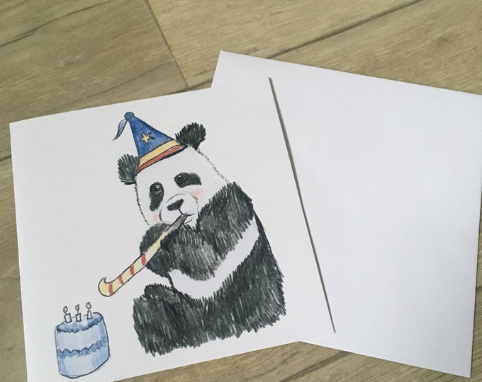 Panda, party panda, card, birthday card, greetings card, for panda lovers, panda gift