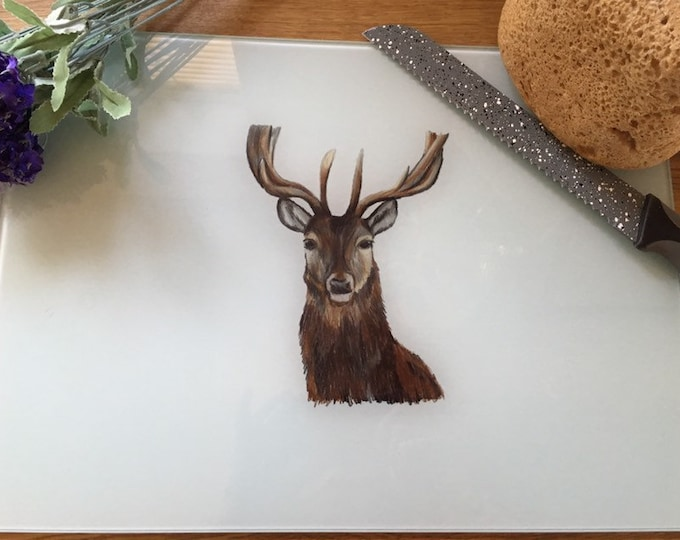 Stag chopping board, glass board, for stag lovers, stag gift
