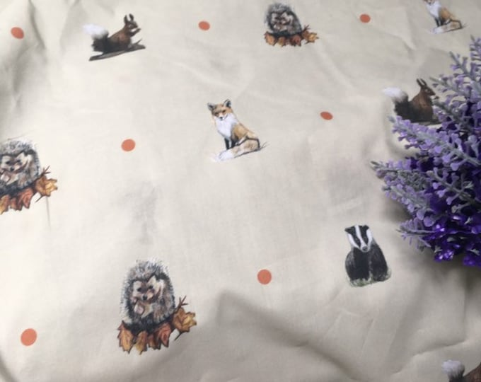 Woodland animal, fabric, cotton fabric, for woodland animal lovers, woodland animal decor, fox, badger, hedgehog, squirrel