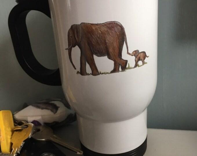 Elephant travel mug, for elephant lovers , elephant gift, elephant mug