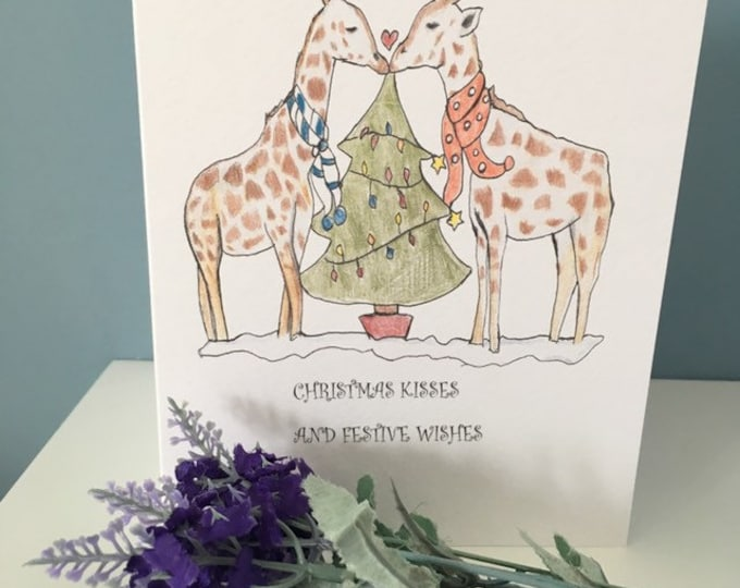 Giraffe Christmas card,greetings card, for giraffe lovers, giraffe gift