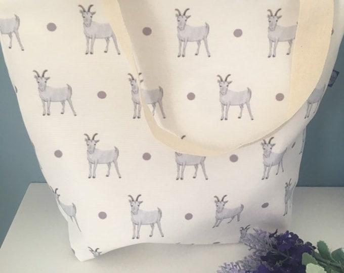 Goat tote bag, day bag, bag, for goat lovers, goat gift