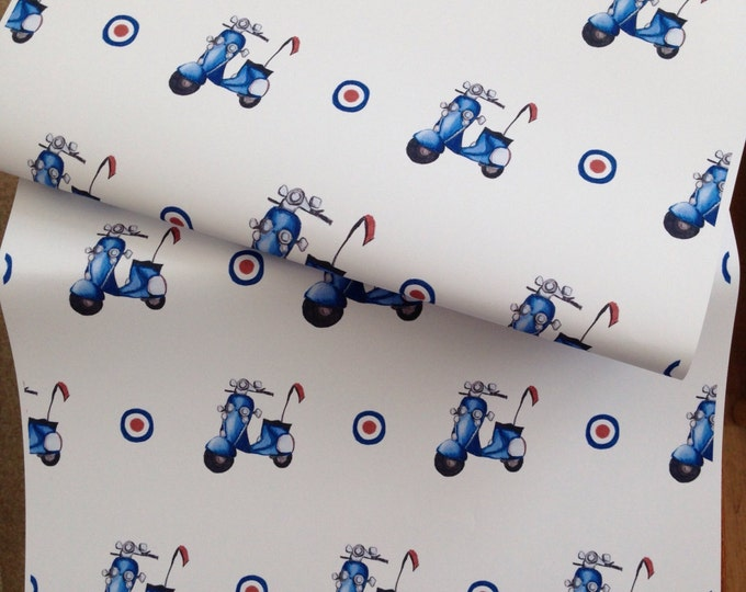 Scooter, wrapping paper, gift wrap, mod, for scooter lovers, for mod lovers, retro, for scooter owners, for Father's Day, read description