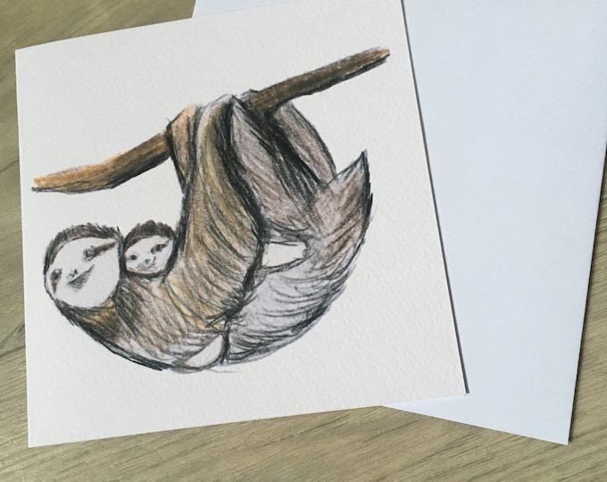 Sloth, sloth mother's , Mother's Day card, for sloth lovers, sloth gift