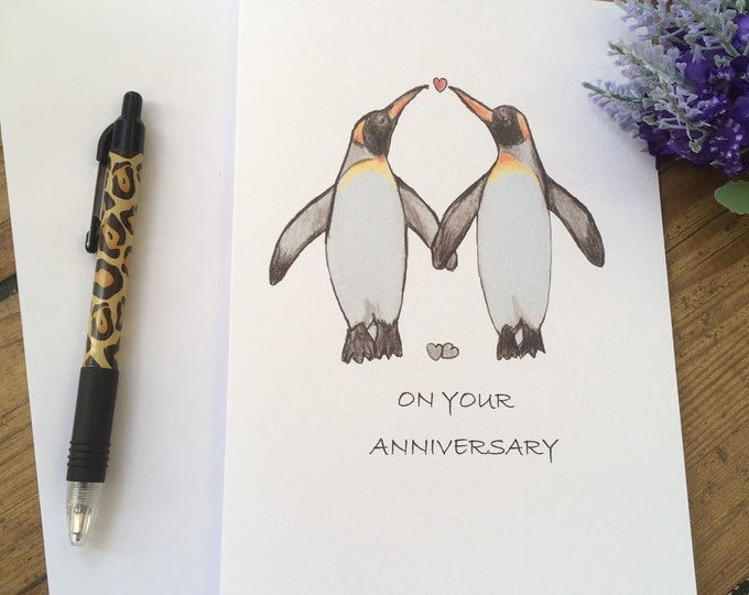 Penguin anniversary card , for anniversary gift, for penguin lovers, penguin gift