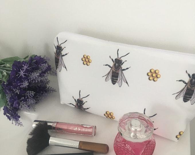 Honeybee, bee, makeup bag, cosmetics bag, for bee keepers, for bee lovers, honeybee gift
