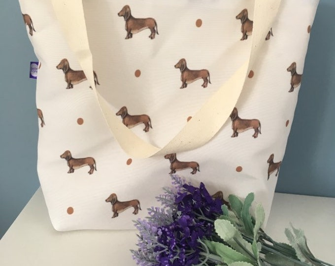 Sausage dog, daschund, tote bag, day bag, for daschund lovers, sausage dog gift