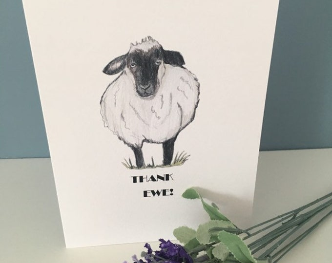 Thank you, thank ewe, sheep card, for sheep lovers, sheep gift