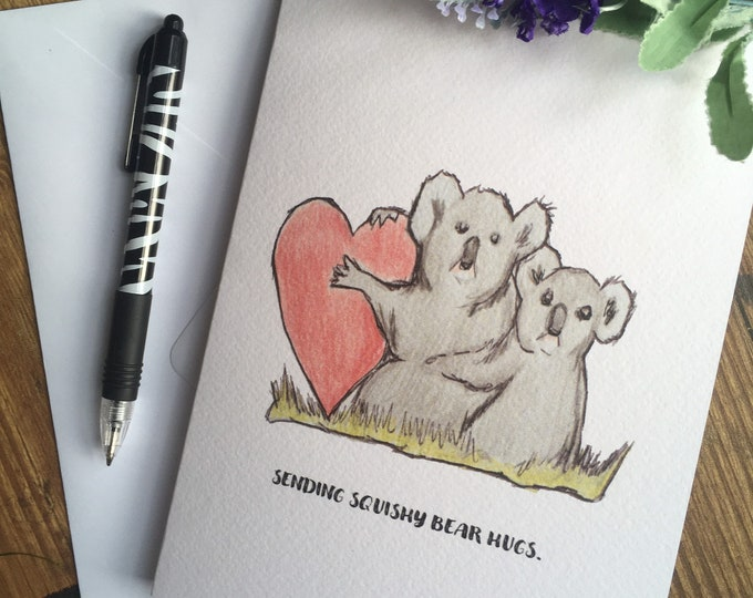 Koala card, greetings card, friendship card, love card, for koala lovers, koala gift