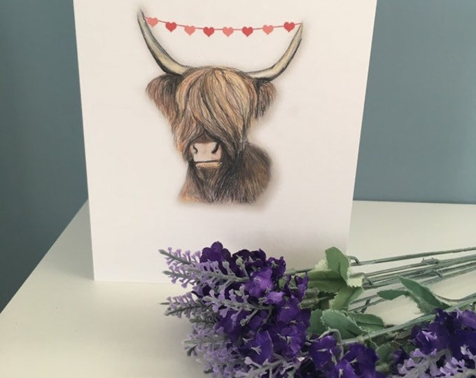 Highland cow, valentines card, for cow lovers, for valentines, cow card