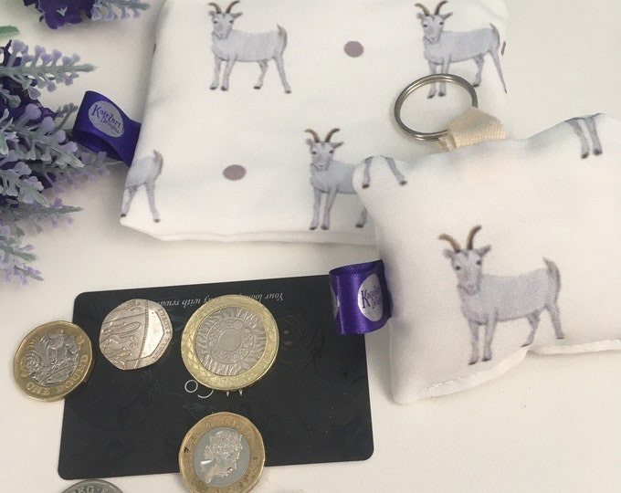 Goat, purse and keyring, gift set, for goat lovers, goat gift idea