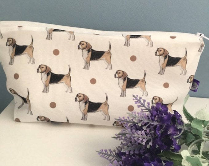 Beagle makeup bag, cosmetics bag, for beagle lovers, beagle gift, for makeup lovers