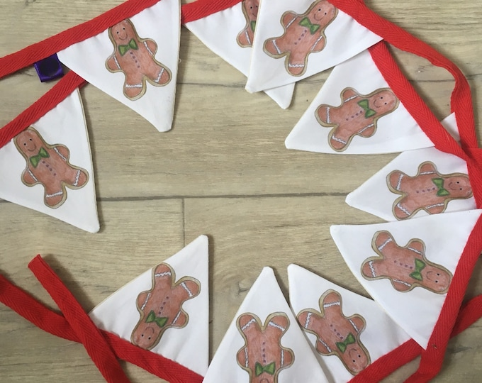 Gingerbread man, bunting, garland, Christmas decor, for gingerbread man lovers, Christmas bunting