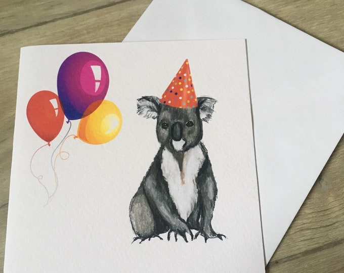 Koala, party koala, birthday card, greetings card, for koala lovers, koala gift
