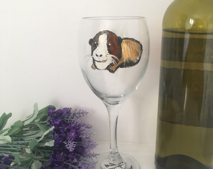Guinea pig wine glass, guinea pig gift, for guinea pig lovers