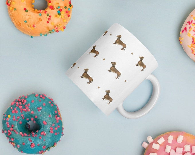 Sausage dog, daschund , mug, tea mug, for dog lovers, daschund gift, sausage dog gift, sausage dog mug, mug and coaster set