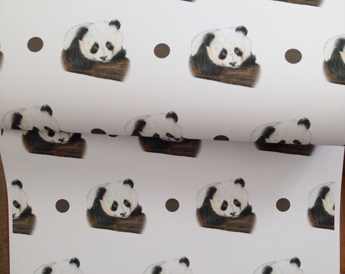 Panda wrapping paper, gift wrap, for panda lovers, read description