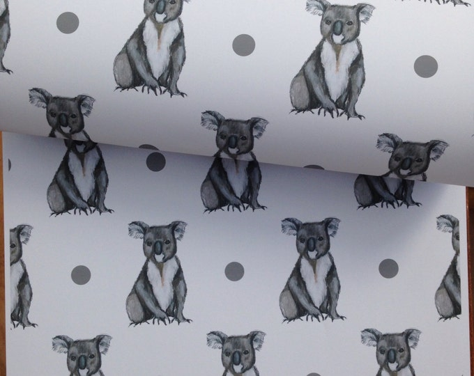Koala bear, wrapping paper, gift wrap, for koala bear lovers, read description