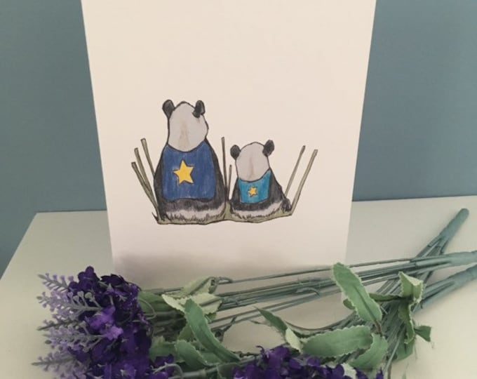 Panda card, Father's Day card, hero card, for panda lovers, panda gift,