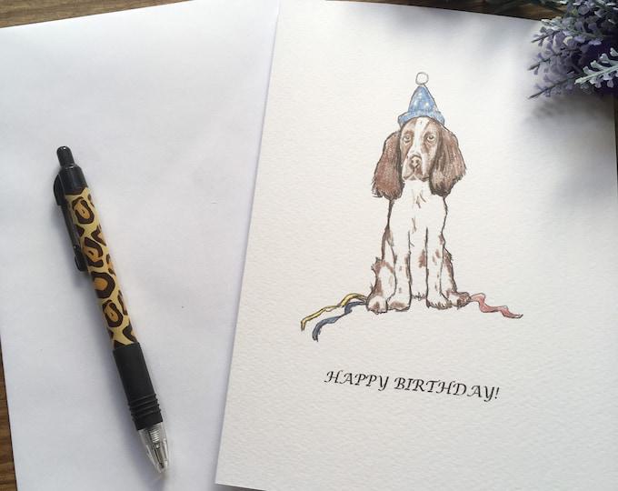 Springer spaniel, card, birthday card, for spaniel lovers, springer spaniel gift