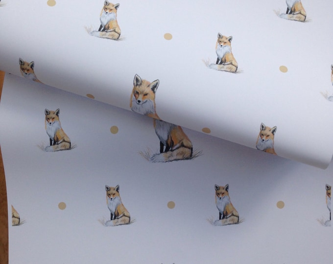 Fox wrapping paper , giftwrap set, giftwrap , for fox lovers , foxes, read description