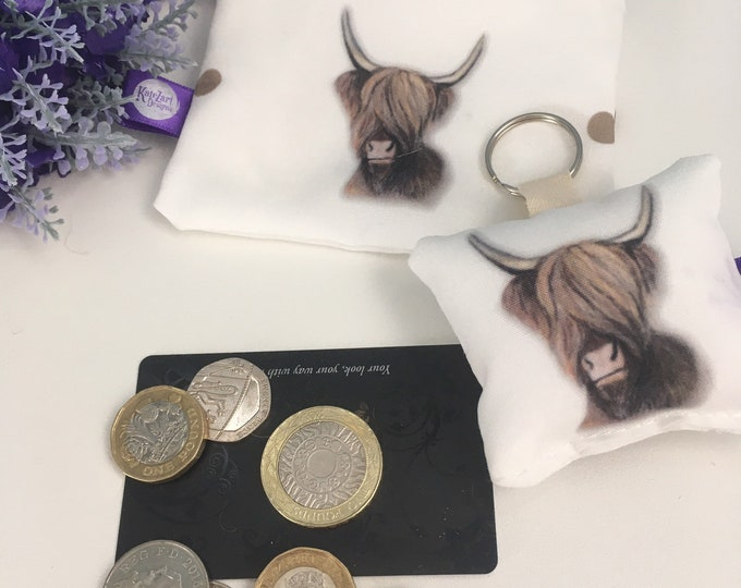 Highland cow, coin purse, keyring, set, for highland cow lovers, highland cow gift